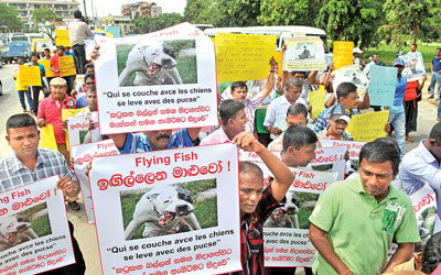 Thousands including War Heroes staged a massive protest opposite the French Embassy on Wednesday, over the screening of the film Flying Fish, at a film festival at the BMICH. Picture by Rukmal Gamage