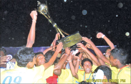 Victorious Rahula College team celebrating after receiving the trophy. Pictures by Priyan de Silva (Matara Sports Correspondent)