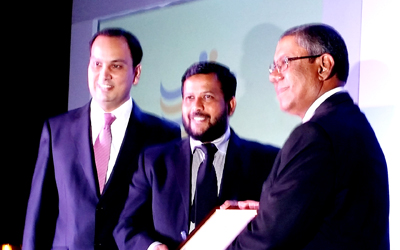 Reyaz Mihular (Managing Partner and Country Head of KPMG Sri Lanka-far right) joins Guavanchmyrat Hezretov (CEO/General Secretary of TCBC-left) to honour Minister of Industry and Commerce Rishad Bathiudeen (centre) at the inauguration event of the Turkey Ceylon Business Council on 23 September at Cinnamon Grand, Colombo.