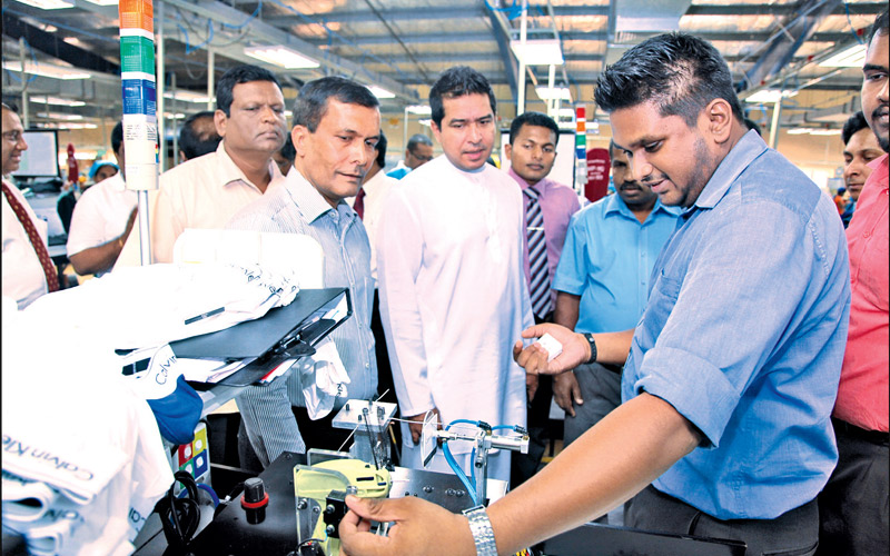 State Minister of International Trade Sujeewa Senasinghe, during an inspection tour of the Koggala Export Procession Zone