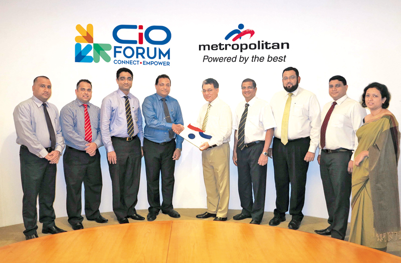 INFOTEL Organizing Committee's Indika Adikari, FITIS and INFOTEL Organizing Committee President Derrick Ferdinandus, CSSL President Dr. Dayan Rajapakse, FITIS Chairman  Chintaka Wijewickrama receiving the sponsorship letter from Metropolitan Holdings  Group Director,   Ivor Maharoof, Metropolitan Group  Chief Technology Officer Anil Gunawardene, Metropolitan Office Director Ali Asgar, Metropolitan Computers Assistant General Manager Uvindhu Gopallawa and   Metropolitan Group Corporate Communications Head, C