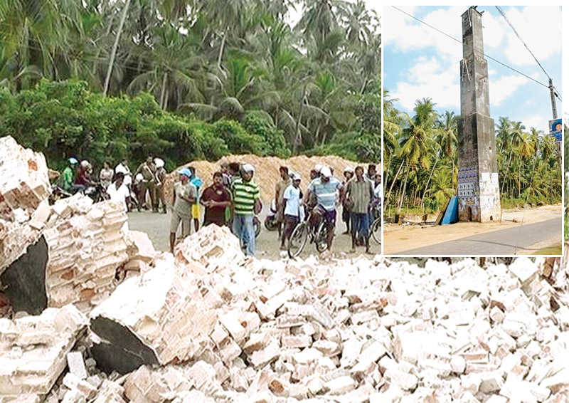 A  150 feet high tower erected during the Dutch period in Kandawala,   Negombo collapsed on to a nearby dispensary, causing damages to the   building on Saturday. No injuries were reported. The tower is said to have  been built by the Dutch in 1796. It had been used for communication and surveillance  purposes. The tower had been under the protection of the Archaeological Department.