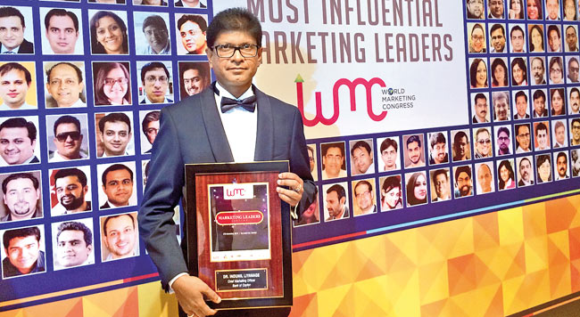 Dr.Indunil Liyanage, Chief Marketing Officer (CMO) of Bank of Ceylon honoured by the World Marketing Congress (WMC) held in Mumbai, India