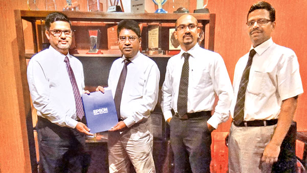 Techzone CEO Rifky Cassim, EPSON India Deputy General Manager R. Shairam, Head of Country Operations  Jerome Smith and Manager – Pre Sales Krishnamurthy .