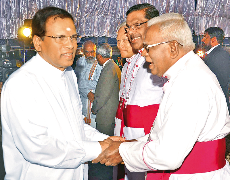 President at christmas festival in jaffna daily news former bishop ofjaffna thomas savundaranayagam greeting president maithripala sirisena at the state christmas festival held at m4hsunfo