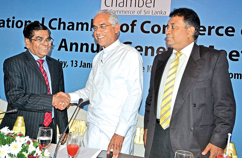 Deputy Minister Wickramaratne with President of NCCSL, Tilak Godamanne and Senior Deputy President, Sujeeva Samaraweera at the event. Picture by Vipula Amarasinghe