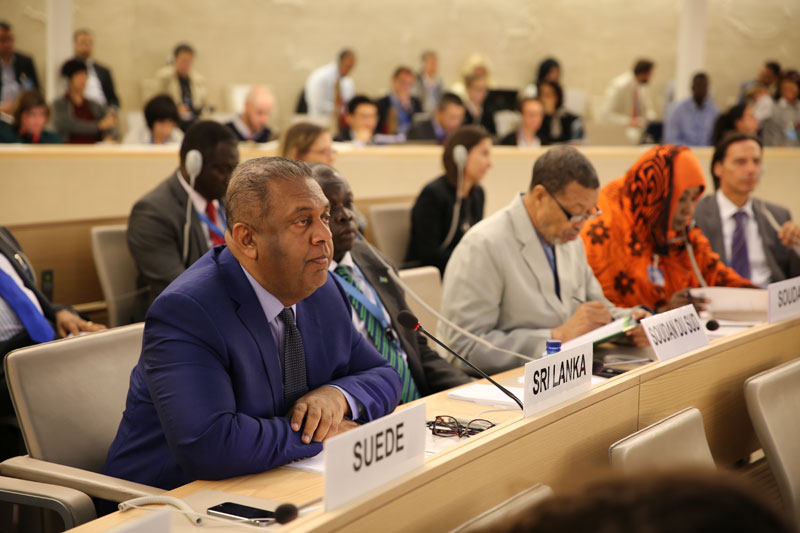 Foreign Minister Mangala Samaraweera addressing the General Debate of the 30th Session of the United Nations Human Rights Council in Geneva on September 14, 2015.