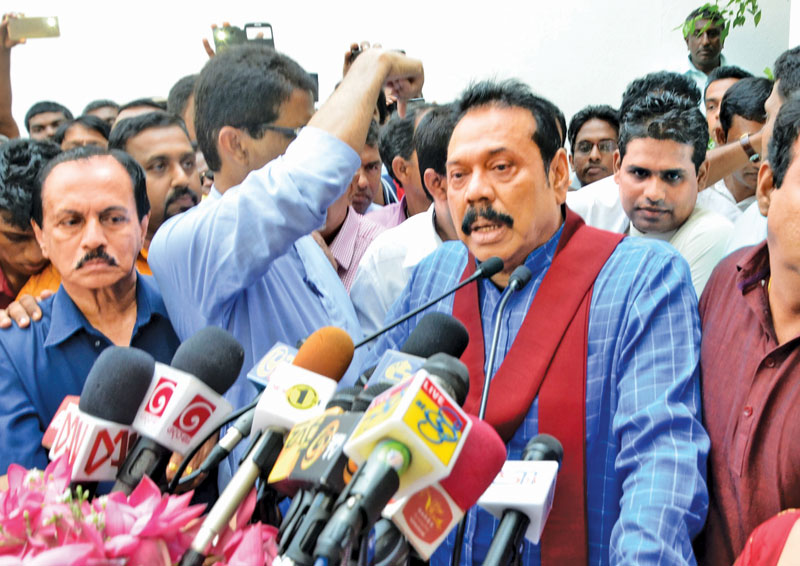 Former President Mahinda Rajapaksa speaking at the opening of his coordinating office at Battaramulla recently. Picture by Vipula Amarasinghe