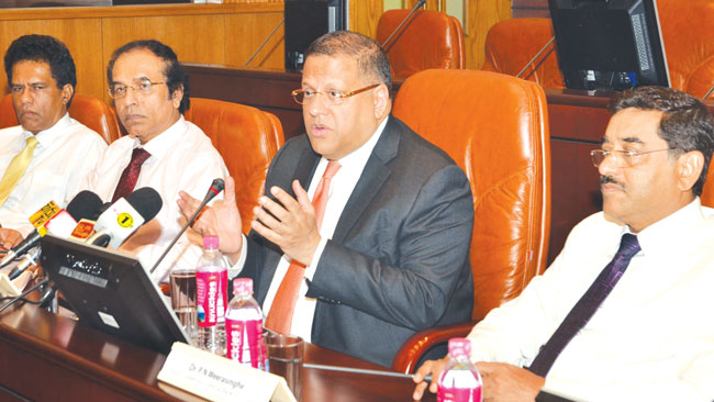 Governor of Central Bank Arjuna Mahendran and senior Central Bank officials at the Central Bank Picture by Vipula Amarasinghe
