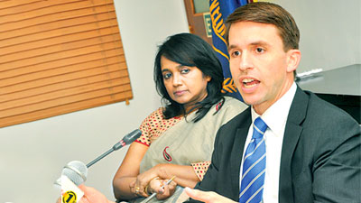 ADB's senior financial specialist Donald Lambert and senior investment officer, Thusitha Molligoda. Picture by Thushara Fernando