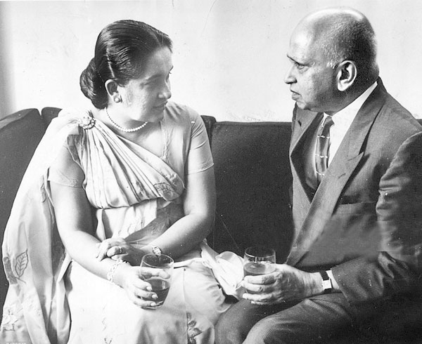 World's first Woman Prime Minister Sirimavo Bandaranaike with first Ceylonese Governor General Sir Oliver Goonetilleke