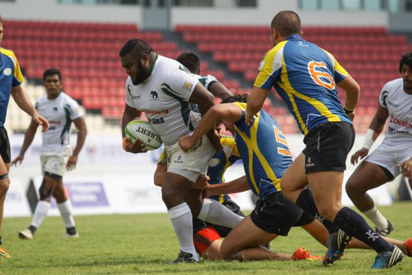 Action at last year's Sri Lanka-Kasakhtan 15-a-side rugby semi final match.