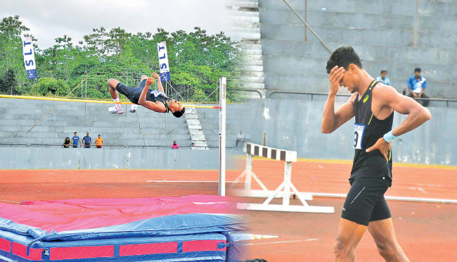 Manjula Kumara goes over the bar at 2.24metres and (on right) expresses his disappointment after failing to reach the Olympic qualifying mark on the opening day of the 94th National Athletics Championship at the Mahinda Rajapaksa Stadium in Diyagama, Homagama yesterday. (Pix by Ranjith Asanka)