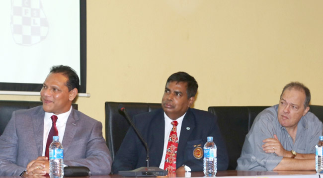 Sports Minister Dayasiri Jayasekera, Chairman Organizing Committee Lakshman Wijesuriya and National Coach Statos Grivas at the media briefing held at Olympic House on Wednesday. Picture by Shan Rambukwella