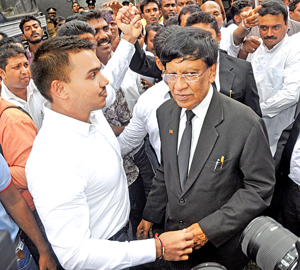 Namal Rajapaksa who was released under strict bail  conditions yesterday.  Picture by Susantha Wijegunasekera