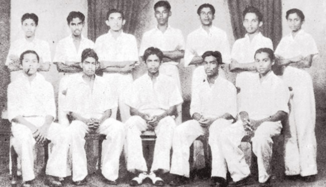 Nalanda College Team-1949 Carl Obeysekera seated first left next to Stanley Jayasinghe Ashley De Silva seated second from right.