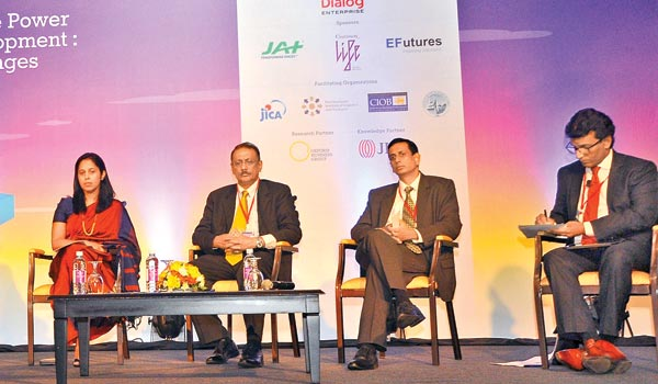Lakshman Kadiragamar Institute of International Relations Executive Director Dinusha Panditharatne, moderator Thilan Wijesinghe and speakers at day two of the LBR LBO Infrastructure Summit 2016. Picture by Thushara Fernando