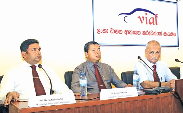 VIAL Chairman Indika Sampath Merenchige, Secretary Keerthi Gunawardane,Treasurer Franklin Fernando and officials at the briefing. Picture by Roshan Pitipana