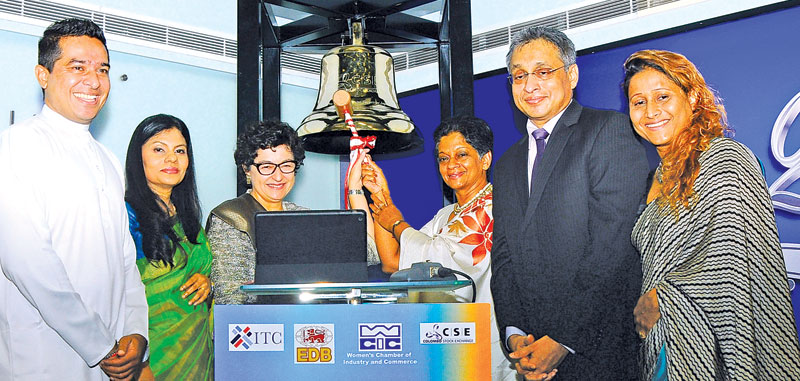 International Trade State Minister Sujeewa Senasinghe, Women's Chamber of Industry and Commerce Chairperson Rifa Mustapha, ITC Executive Director Arancha González, Export Development Board Chairperson and CEO Indira Malwatte, Colombo Stock Exchange Chairman Vajira Kulathilake and Hettigoda Group Director Vidyani Hettigoda at the CSE bell ringing ceremony.   Picture by Wasitha Patabendige