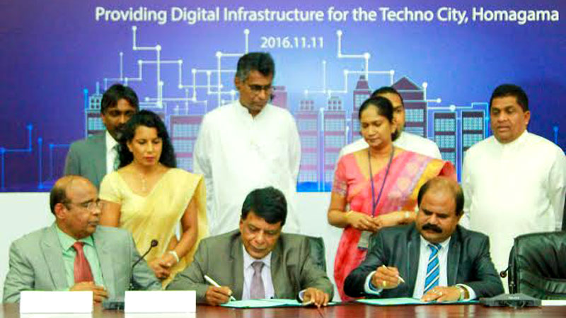 The signing of the agreement was held at Sethsiripaya with the participation of Megalopolis and Western Development Minister  Patali Champika Ranawaka and Minister Harin  Fernando and Deputy Minister Lasantha Alagiyawanna.The MoU was signed by Megalopolis  Development Ministry Secretary Nihal Rupasinghe on behalf of the Ministry and Sri Lanka Telecom  Chairman P. G. Kumarasinghe Sirisena on behalf of  that company.