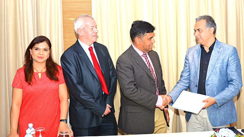 Planet Education CEO Gagan Singh and  Susantha Katugampola, Chairman Australia Gateway and other officials in Colombo.  Picture by Marlon Karunaratne