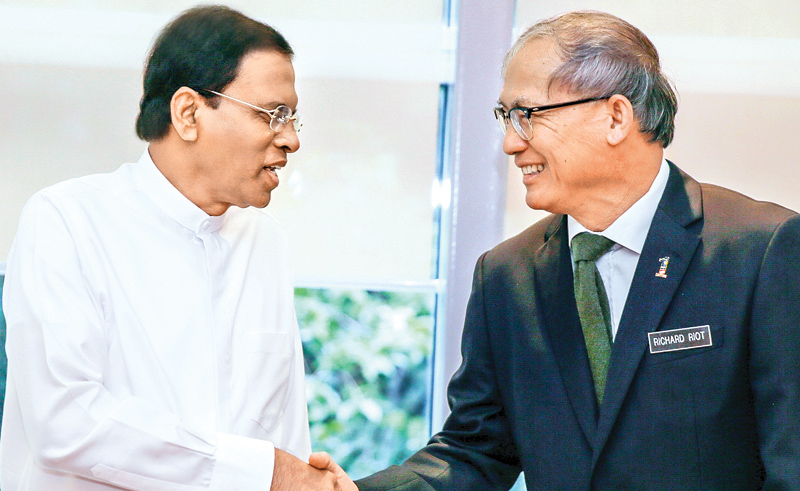 President Maithripala Sirisena who arrived in Malaysia on a three day state visit is received on arrival by Malaysian Human Resource Development Minister Dato Sri Richard Riot Anak Jaem.