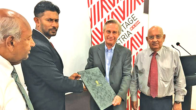 The award was presented to Dr. Rangika Halwatura by Austrian Trade Commissioner and Commercial Counsellor Dr. Oskar Andesner at a ceremony held at Waves at the Colombo Swimming Club on Monday.Honorary Consul for Austria in Sri Lanka Senaka Amarasinghe, ECCSL Director DilipanTyagarajah, ECCSL Legal Counsel John Wilson and ECCSL General Manager Srinath Fernando were present . Picture by Dushmantha Mayadunne