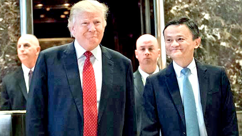 US President-elect Donald Trump and Alibaba Group Chairman Jack Ma meeting at Trump Tower.