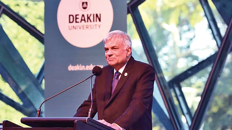 Prime Minister Ranil Wickremesinghe delivering the keynote address at the Deakin University Law Faculty on Thursday. Picture by Malan Karunaratne
