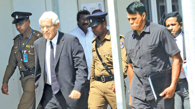 Indrajit Coomaraswamy arriving at the Commission. Picture by Wimal Karunatilaka
