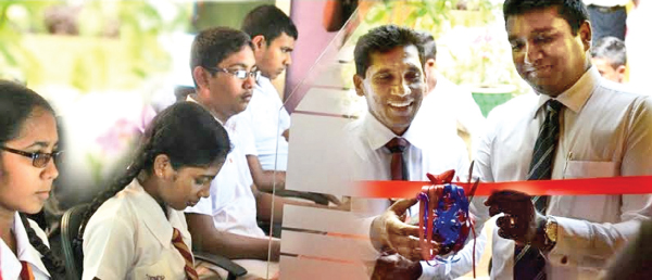 Nishan Sembacuttiaratchy, Chief Executive Officer, ESOFT METRO CAMPUS opening the new computer lab at the Ambilipitiya Maha Vidyalaya (Right). The Students use new computer lab (Left).