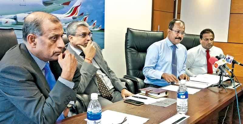 Chief Executive Officer Sri Lankan Airlines Suren Ratwatte, Chairman Lanka Sportsrizen (LSR) Tilak Weerasinghe and Head of Media, Srilankan Airlines Deepal Perera at the press Conference.