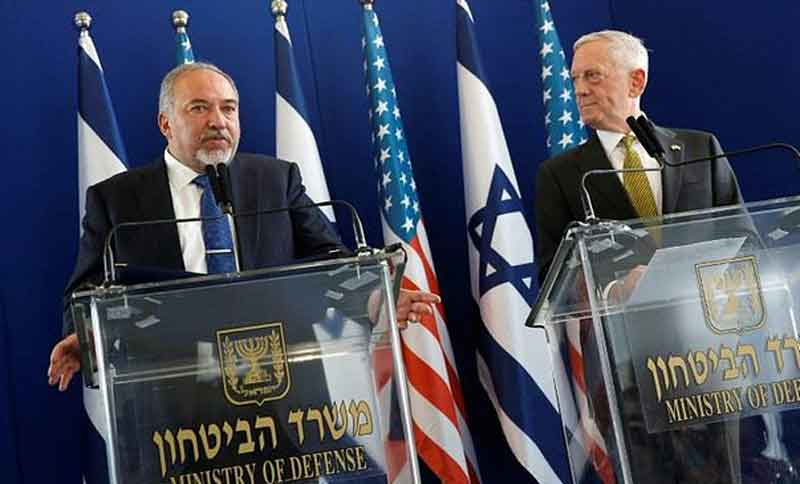 Pentagon chief Jim Mattis (R) with his Israeli counterpart Avigdor Lieberman at a joint press conference in Tel Aviv yesterday.- AFP