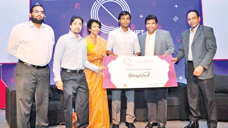 ICTA Chairperson Chaitrangani Mumarak, CEO Muhunthan Canagey, Senior Consultant Indika De Soysa and other officials launching the Disrupt Asia Start Up Conference and Showcase, yesterday. Picture by Saliya Rupasinghe