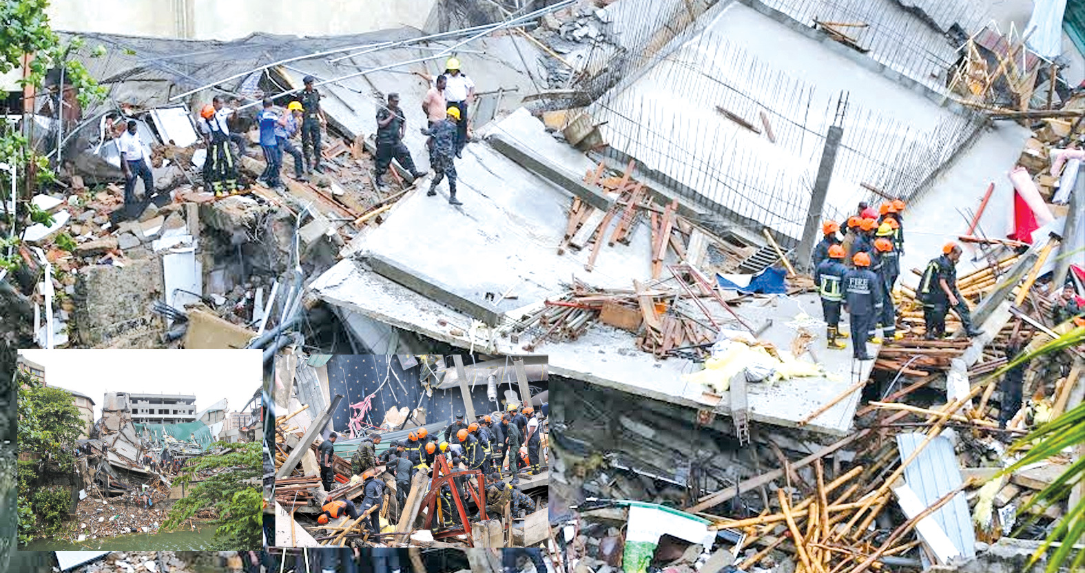 Military rescue teams and fire fighters searching for missing  persons in the rubble of the collapsed building at Wellawatte.   Pictures by Rukmal Gamage and Vipula Amarasinghe