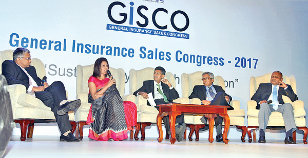 At the CEO panel discussion. Insurance Association of Sri Lanka (IASL) President Deepthi Lokuarachchi, Alliance Insurance CEO Surekha Alles, National Insurance Trust Fund (NITF) Chairman Manjula de Silva, Fairfirst Insurance CEO Sanjeev Tha and Ceylinco General Insurance CEO Ajit Gunawardane