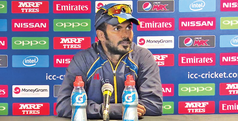 Upul Tharanga addressing the media at the end of the Sri Lanka v New Zealand warm-up match at Birmingham on Tuesday.