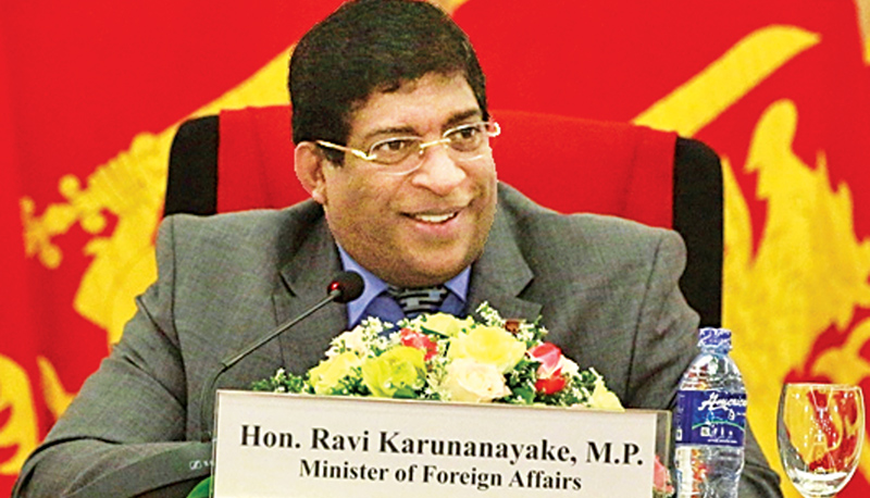 Foreign Affairs Minister Ravi Karunanayake speaking at the ceremony.