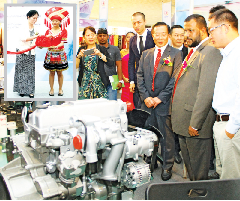 Minister Bathiudeen at the launch event of the first ever product exhibition in Sri Lanka by China's Guangxi Zuang Autonomous Region at SLECC. Pictures by Mahinda Vithanachchi