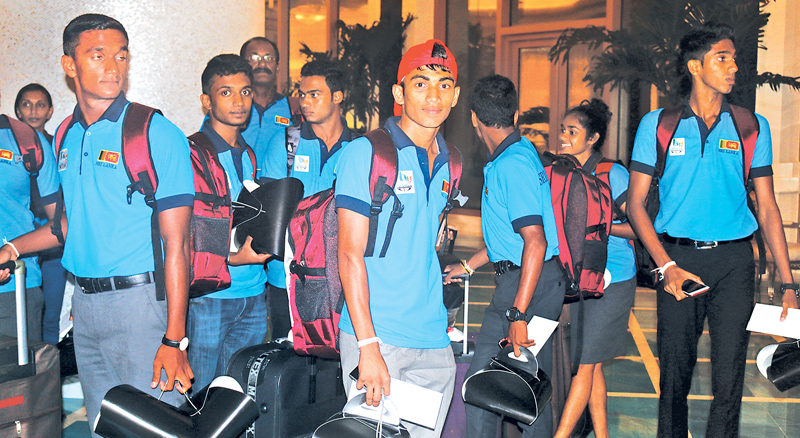 Sri Lankan contingent for sixth Commonwealth Youth Games arriving at the transit hotel in Nassau. Picture by Prince Gunasekara