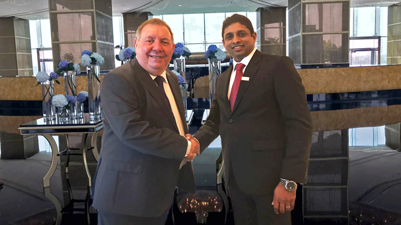 CIMA President David Stanford congratulating Chandrin Fernando at the Oberoi Hotel in Dubai on his appointment as Vice Chairman of MESANA Regional Board of CIMA