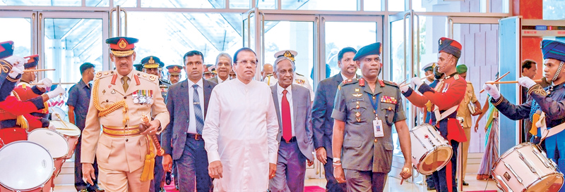 President Maithripala Sirisena inaugurated the Colombo Defence Seminar 2017 themed 'Countering Violent Extremism: Global Trends' at the BMICH yesterday. Picture shows the President being conducted to the venue. State Defence Minister Ruwan Wijewardene, Secretary to the President Austin Fernando, Defence Secretary Kapila Waidyarathna, Field Marshal Sarath Fonseka and Army Commander Lt.General Mahesh Senanayake were also present. Picture by Sudath Silva