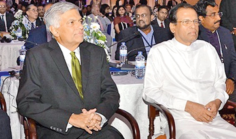 President Maithripala Sirisena and Prime Minister Ranil Wickremesinghe at the closing ceremony of the second Indian Ocean Conference held at Temple Trees yesterday. Picture by Sudath Malaweera.
