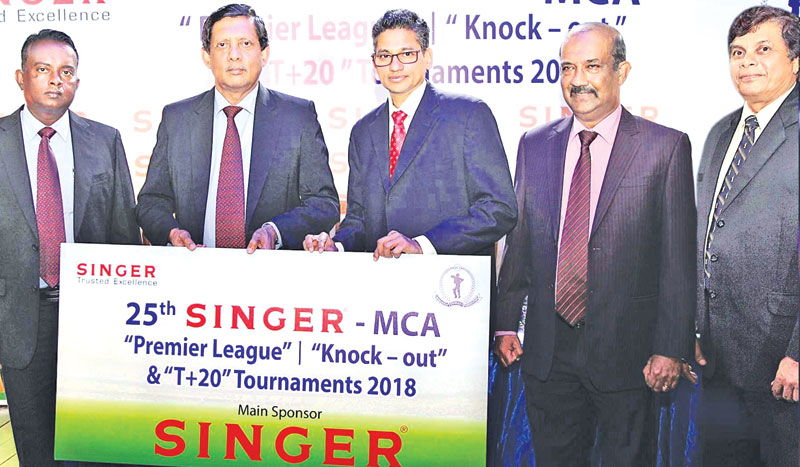 Director Marketing, Singer Sri Lanka PLC , Kumar Samarasinghe (02nd from left) handing over the sponsorship cheque  to President MCA, Niran Mahawatte, (03rd from right ).  Others in the picture from left -  Senior Promotions Manager,  Singer SL PLC  K.D.S. Kanishka,  General Secretary MCA, Nalin Wickremasinghe & Chairman Tournament Committee MCA,  Sujeewa de Silva.