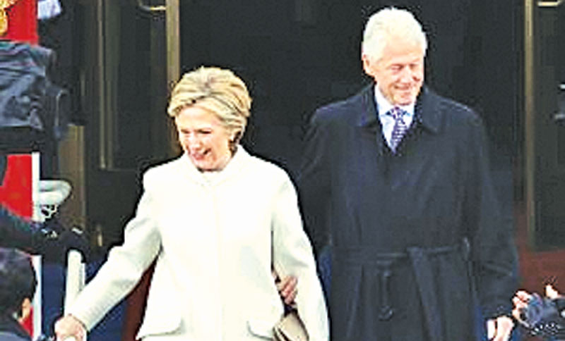 Former President Bill Clinton and Former Secretary of State Hillary Clinton at Donald Trump's inauguration.