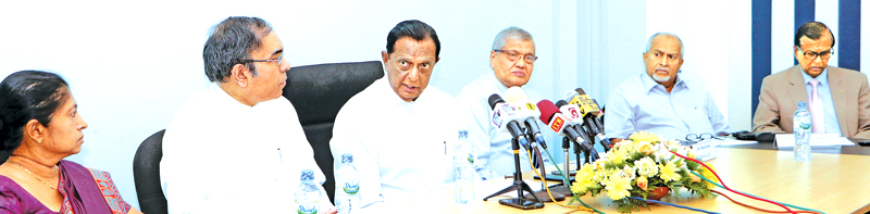Minister of Tourism Development and Christian Religious Affairs John Amaratunga, Secretary to the Ministry, Esala Weerakoon, SLCB Chairman Prema Cooray,  SLITHM Chairman Sunil Dissanayake and other officials particiapting in a media event with regard to the IATO Convention, last week. Picture by Saman Sri Wedage