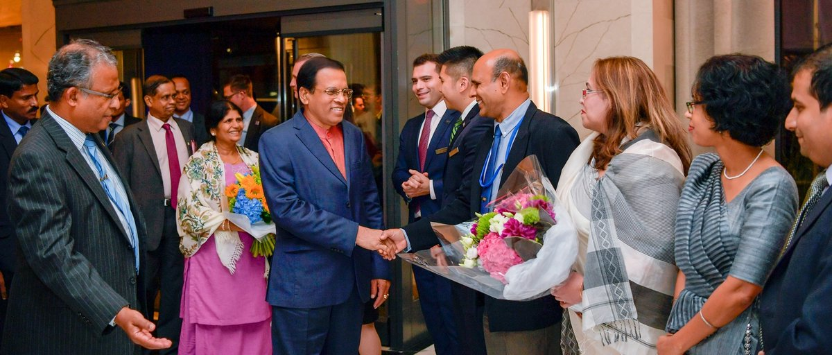 President Sirisena arrives at New York to attend UN General Assembly