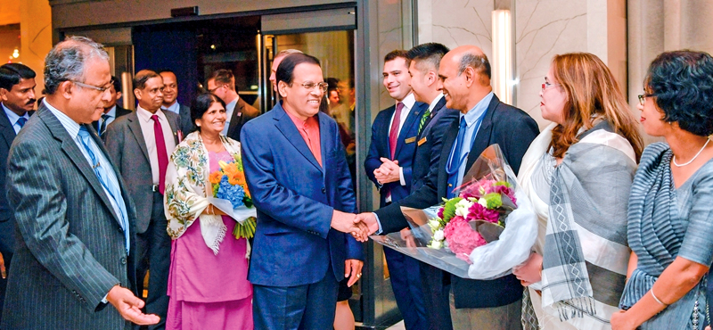 President Maithripala Sirisena arrived at the John F. Kennedy International Airport in New York last morning to attend the 72nd General Assembly of the United Nations. The representatives of the Sri Lankan Ambassador's Office in New York warmly welcomed President Sirisena and Mrs. Jayanthi Sirisena at the hotel where the President will stay during the visit. Picture by Sudath Silv