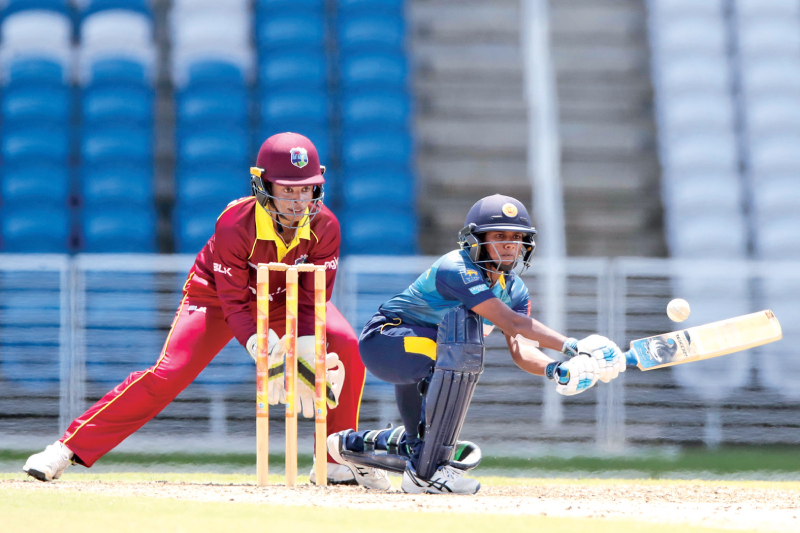 Sri Lanka Women batting against West Indies Women in the first ODI at the Brian Lara Cricket Stadium.