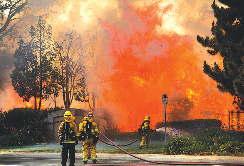 An uphill task for firefighters.